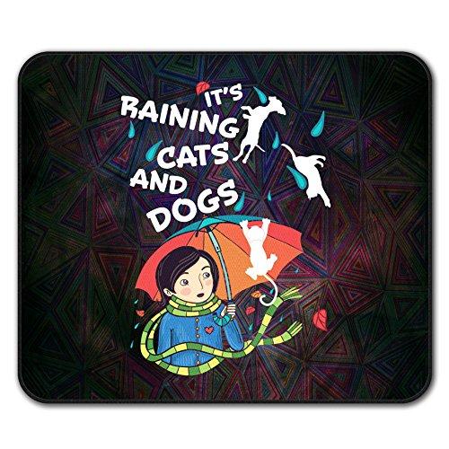 regnet Katzen Hunde Komisch Mouse Mat Pad, Tier Rutschfeste Unterlage - Glatte Oberfläche, verbessertes Tracking, Gummibasis von Wellcoda - Für Fallen Wilde Falle Katzen