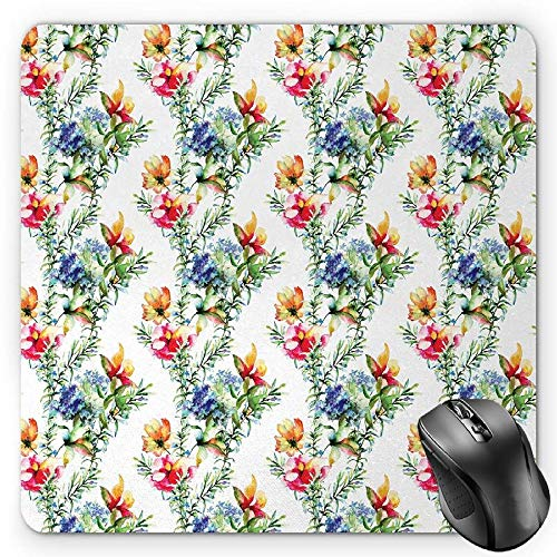 BGLKCS Flower Mauspads Mouse Pad, Shabby Chic Design Mimosas Daisies Flowers Leaves Buds Lilacs Work of Art Print, Standard Size Rectangle Non-Slip Rubber Mousepad, Multicolor -
