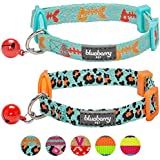 Blueberry Pet Hunting Expedition Adjustable Breakaway Cat Collars With Fish Bone And Leopard Print, Small, 2-Pack