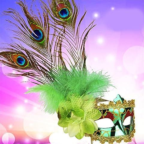 Halloween Maske Masquerade Party Gemalte Prinzessin Beauty Pfau Feder Masken,Grün