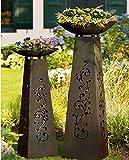 Gilde Säule mit Schale Rankenmotiv Metall 126 cm Gartendeko Schalenständer