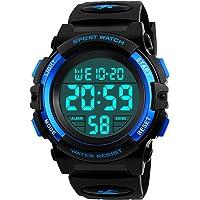 ragazzi orologi digitali, bambini sport 5 atm impermeabile orologio con sveglia/cronometro/EL Light, blu per bambini all…