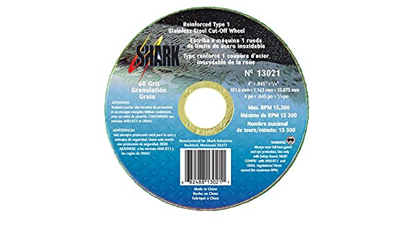 25-Pack Shark Welding 13022 Shark 4-Inch by 0.045 by 5//8-Inch 60-Grit Type 1 Ss Cut-Off Wheel