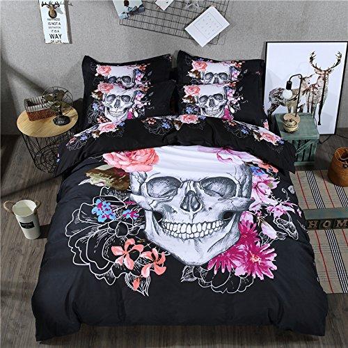 cliab Totenkopf Betten Set 5-teilig (Spannbetttuch im lieferumfang enthalten), Polyester, schwarz / rot, Twin - Cliab Bettbezug