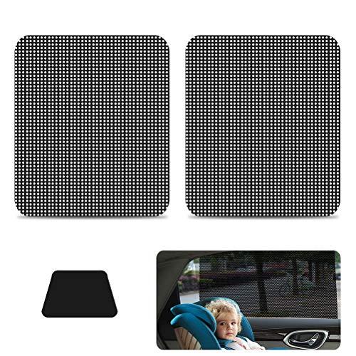 FOCCTS 1 Paar Sonnenschutzaufkleber für Seitenfenster SichtschutzfolieAutoSonnenblendeUV Schutzfür Kinder/Hunde/Baby,Schwarz - Wiederverwendbare Fenster-folie
