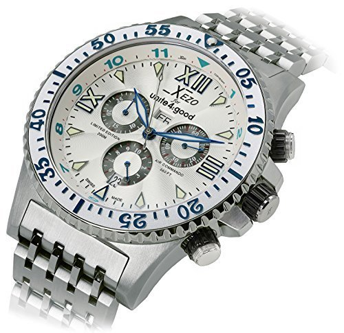 Xezo Men's Diver Pilot Professional Swiss Made Chronograph 2nd Time Zone Watch by Xezo