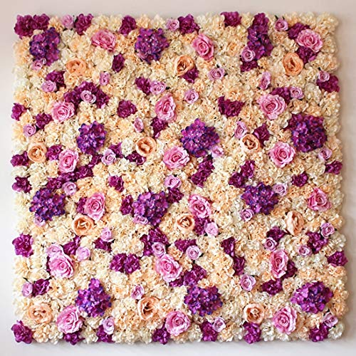 Fenghezhanouzhou Purple Blooming Rose Pivoine Hortensia Artificielle Cryptage Fleur DIY Mariage Décoration Murale Photo Fond (Taille : Og0195f)
