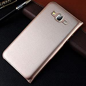 Helix Leather Flip Cover For Samsung Galaxy J7 Gold