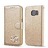 QLTYPRI Samsung Galaxy S6 Edge Hülle, Glitzer Handyhülle PU Ledertasche TPU Etui Handschlaufe Kartenfach mit Eingelegten Liebe Herz Diamond Flip Schutzhülle für Samsung Galaxy S6 Edge - Gold