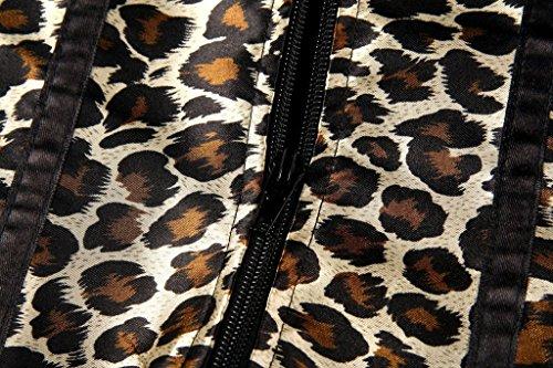 HYSENM Damen Unterbrustkorsett Unterbrustcorsage Unterwäsche Satin Plastikknochen mit Spitze Vollbrust Design inkl. G String Leopard