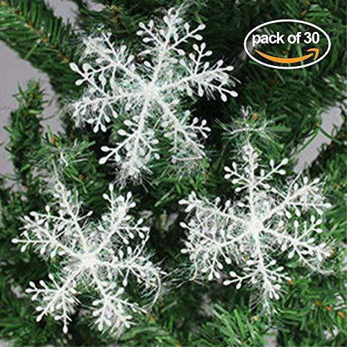 Mbuynow 30 Pezzi Fiocchi di Neve di Natale, Pezzi Bianco Fiocco di Neve Alberi di Natale Decorazioni (11 cm)