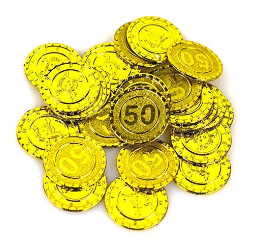 Piraten Goldmünzen 25 Stück gold glitzernd Seeräuber Kostüm Schatzkiste Geld Taler Münzen Geldmünzen (Geld Kostüm)