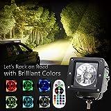 2PCS 7,6cm Rock LED RGB bar quadrato lavoro luce per auto da 15W ad alta intensità CREE chip 6500K nebbia lampada illuminazione per veicoli fuoristrada, Colight