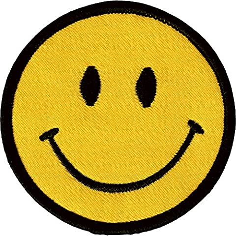 1 X Smiley Happy / Smile Face Logo Badge Iron on Patches (Dia. 2 3/4) by DIYmonk Patch