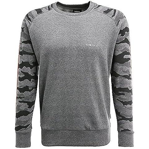 Diesel Casey Raglan Crew Neck Sweatshirt Grey Camo Large