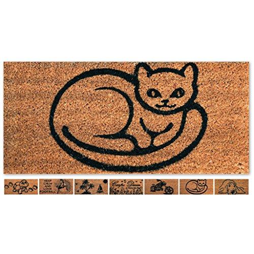Läufer-gummi Treppe (Fußmatte Türvorleger Eingangsmatte Treppe Hausflur 50x25cm Auswahl: Design - Katze)