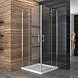 Dusche Duschkabine Duschabtrennung 80x80cm Eckeisntieg Duschtür Eckdusche Duschwand aus Sicherheitsglas