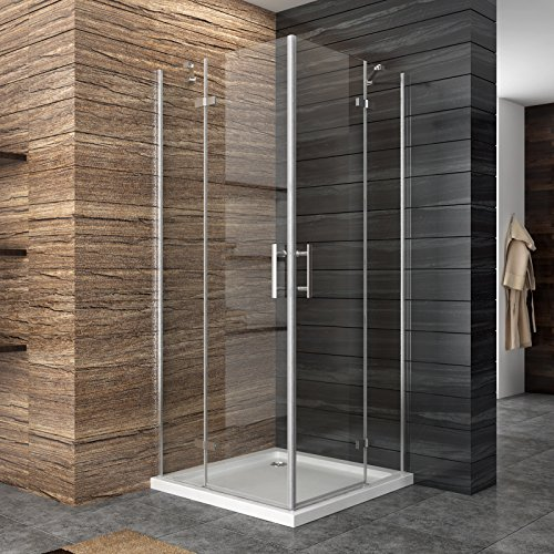 Dusche Duschkabine Duschabtrennung Eckeisntieg Duschtür Eckdusche Duschwand aus Sicherheitsglas 120x100cm