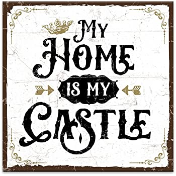 holzschild mit spruch my home is my castle shabby chic retro vintage nostalgie deko. Black Bedroom Furniture Sets. Home Design Ideas