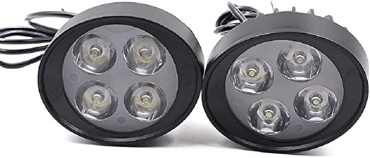 """Casago CS4FW2P 4 LED Driving Fog Light Auxiliary Headlamp with 7/8"""" Handlebar Mount Clamp for Modified Most 22mm Bar Bikes (2Pcs)"""