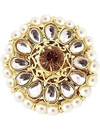 9blings Bridal Filigree Pearl CZ Gold Plated Adjustable Ring