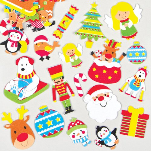Baker Ross Christmas Foam Stickers for Children for Decorating Festive Cards Crafts (Pack of 100)