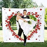 Casa Vivente – Hochzeitslaken zum Ausschneiden – Hochzeitsherz für das Brautpaar – Set inklusive Bettlaken und Zwei Scheren– Hochzeitsbrauch – Hochzeitsspiele – Maße des Betttuchs 2 m x 1,80 m