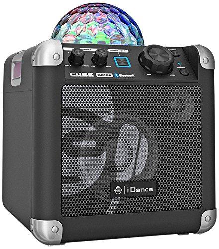 Preisvergleich Produktbild iDance Party Cube BC100 Sound-System Musik-Anlage Bluetooth Connection Musik-Box mit Hand-Mikrofon für Party LED-Lichteffekt 50W (USB, AUX, Tragegriff, Stroboskop Funktion) Schwarz