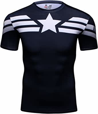 Cody Lundin Homme T-shirts Collants Imprimes Heros Captain, T-Shirt Manches Courtes Fitness Exercice Running Sport et Loisirs T-Shirt pour Hommes,Noir