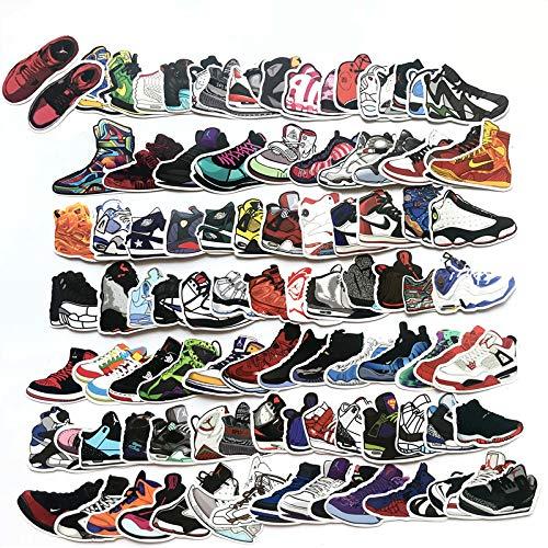 100 Stücks Aufkleber Pack Graffiti Decal, Retro Sneakers Aufkleber, Wasserdicht Vinyl Sticker für Laptop, Koffer, Kinder, Skateboard, Auto, Motorrad, Snowboard [EINWEG] - Telefon Fall Jordans