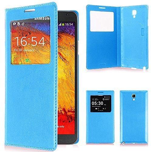 VCOMP Custodia Cover Guscio sportellino Vista Compatibile con Samsung Galaxy Note 3 Neo/Lite Duos 3G LTE SM-N750 SM-N7505 SM-N7502 - Blu