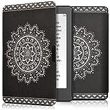 kwmobile Elegante funda de cuero sintético para el > Kobo Aura Edition 2 < en Diseño Flor azteca blanco negro
