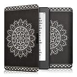 kwmobile Funda para Kobo Aura Edition 2 - eReader Case de cuero sintético - Con tapa E-book reader Flip style Diseño Flor azteca blanco negro