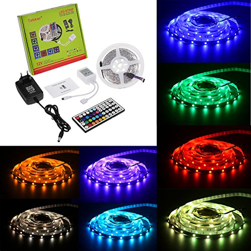 Tabker® Romantique Ruban Lumineux 5 Mètres 150 SMD 5050 RVB Bande LED Strip + Télécommande à Infrarouge 44 Touches + Alimentation 2.5A 12V