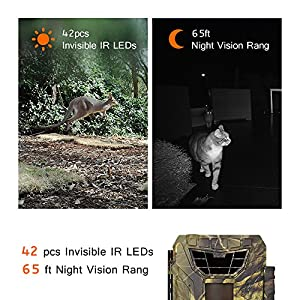 "WingHome Trail Camera, 290C Game Camera with Night Vision Motion Activated Waterproof for Wildlife Monitoring Photograph Home Surveillance, 12/16MP 1080P FHD Recording, 2"" Colorful Display"