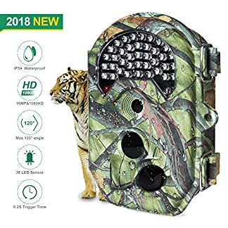 FLAGPOWER IP54 Waterproof Hunting Trail Camera, No Glow Infrared 16MP 1080P HD Wildlife Camera with 130°Wide Angle Night Vision up to 65ft, Scouting Camera with 38pcs 940nm IR LEDs