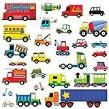 Decowall DW-1205 27 Transporte Autos Fahrzeuge Wandtattoo Wandsticker Wandaufkleber Wanddeko für Wohnzimmer Schlafzimmer Kinderzimmer