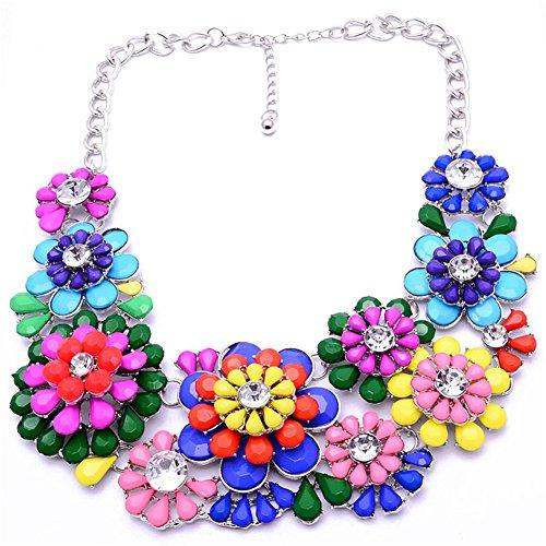 TWOPAGES colorato con fiore Vintage in cristalli-Collana girocollo per donna, ragazza