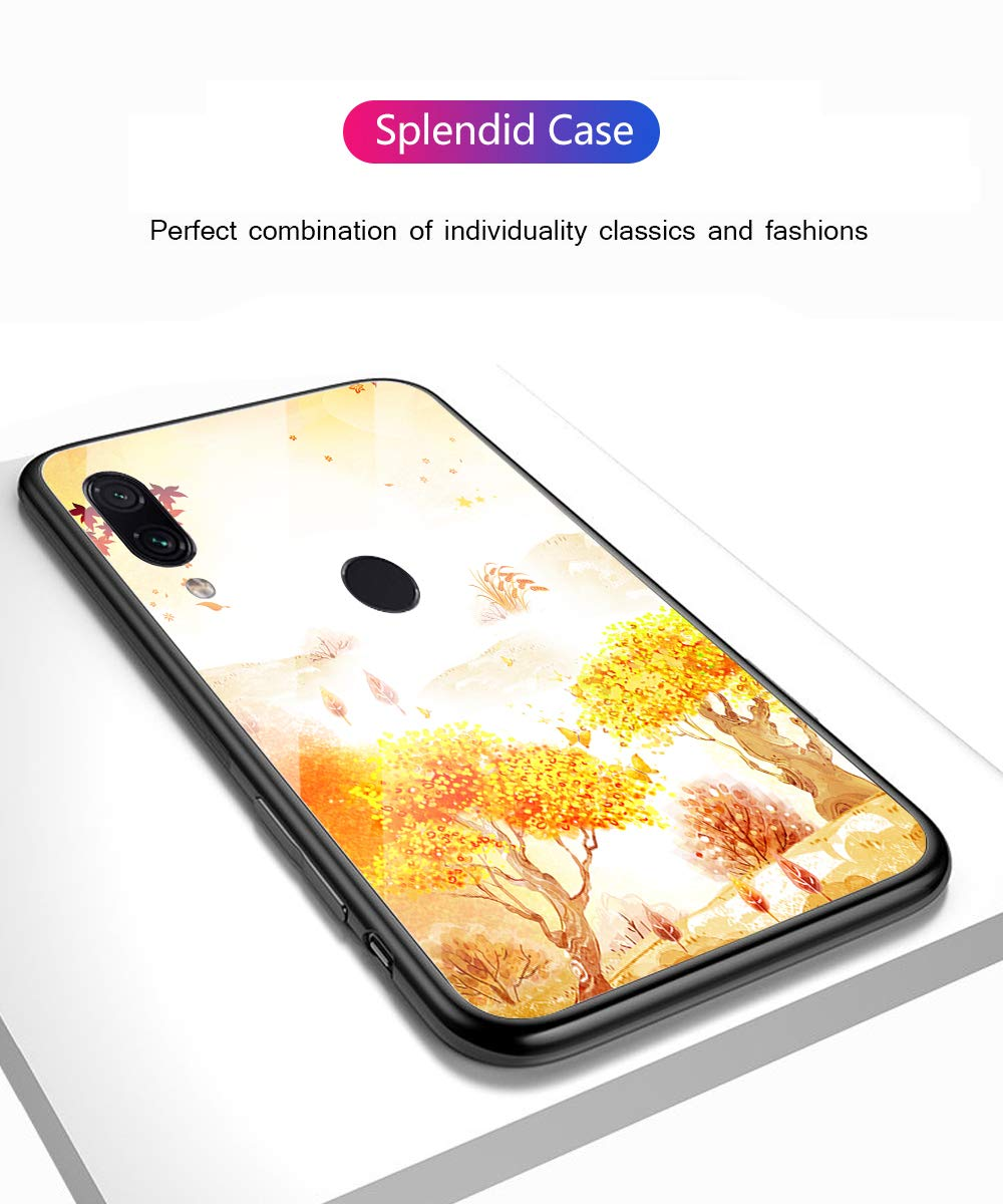 Oihxse Compatible for Xiaomi Mi 8SE Case Glass with Design, Slim Fit Tempered Glass Back Fashion Pattern [Anti-Yellow] [Non-Fade] Cover Shockproof TPU Bumper Skin Shell for Xiaomi Mi 8SE-Yellow3 Oihxse 🍂Slim Fit snugly for Xiaomi Mi 8SE without bulky and loose. 100% compatible with the Qi [Wireless Charging]. Ultra Thin glass back cover will not block [WiFi / GPS / Bluetooth / Signal Reception]. 🍂Stylish autumn series pattern covered with 9H tempered glass to ensure the performance of [Anti-Fade] [Anti-Yellowing], durable for use and adds more sleek look even fashion charming. Suitable for girls, boys, women and men. 🍁Soft TPU bumper with anti-slip design on both sides, compliment with pretty autumn series hard plastic panel plus 9H tempered glass back shell, not only can withstand shocks, impacts, scratches, and bumps, but also provide great in-hand feeling and grip. 7
