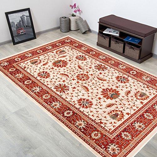 WOLLTEPPICH bester Qualität - Teppich aus Wolle ins Wohnizimmer mit Bordüre - Muster Ornamente Beige Terrakotta - THEATRE COLLECTION 240 x 350 cm Home-theatre-teppich