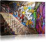 Coloured Streetart Graffiti Format: 120x80 cm auf Leinwand, XXL riesige Bilder fertig gerahmt mit Keilrahmen, Kunstdruck auf Wandbild mit Rahmen, günstiger als Gemälde oder Ölbild, kein Poster oder Plakat