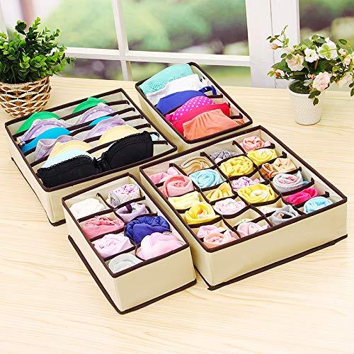 Hongxin-shop cassetto organizer per biancheria intima divisori cassetti pieghevole organizzatore per reggiseni calzini cravatte sciarpe accessori fazzoletti e cravatte storage box beige, set di 4