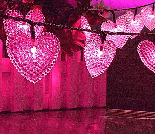 20 LED Herz Geformte Solar im Freien Feenhafte Schnur Lichter, KEEDA 15.7ft Wasserdichte Weihnachtsbaum-Lichter, Angetriebene Garten Solarlichter für im Freienweihnachtsfest Dekoration Lichter (Rosa)