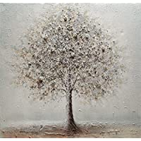 48c87337d7 BUBOLA quadro bianco dipinto a mano albero bianco particolari a rilievo su  tela DIPIW641 100x100