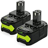 NeBatte 2x P108 18V 5.0Ah Batteries de Remplacement Lithium-ion 2 pièces pour Ryobi One + avec Indicateur LED