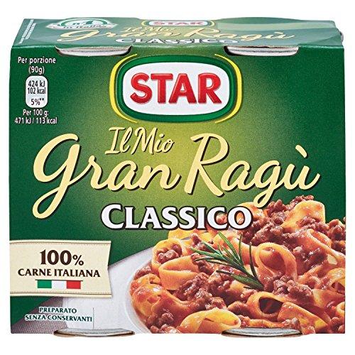 Star - Il Mio Gran Ragù, Classico, 100% Carne Italiana - 3 confezioni da 2 latte da 180 g [1080 g, 6 latte, 12 porzioni]