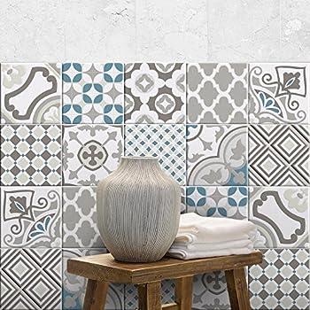 Adh/ésive d/écorative /à carreaux pour salle de bains et cuisine Stickers carrelage 36 PIECES carrelage adh/ésif 10x10 cm collage des tuiles adh/ésives PS00165-P sofia