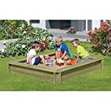 Sandkasten 180 x 180 cm aus Holz 30 mm imprägniert mit Deckel von Gartenpirat® -