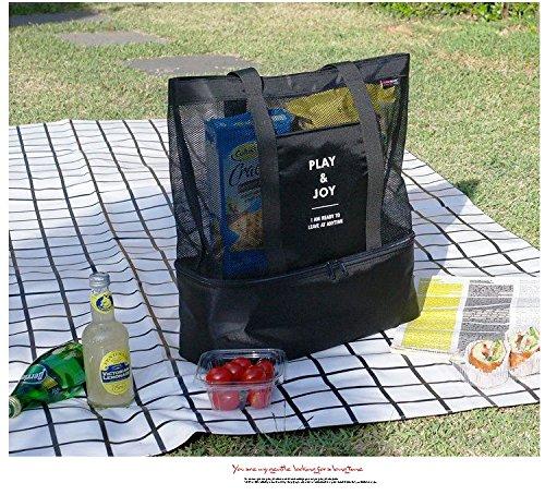 HGDGears Double layer Borsa termica pranzo picnic borsa a Tracolla Sportiva Borsa da Viaggio Donne (nero) verde