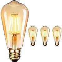 OnlineTek LED Edison Light Bulbs, ST64 Antique Vintage Style Light, Amber Warm 2600-2700K 360° 4W (40W Equivalent) LED Filament Decorative lamp E27 – 3 Pack